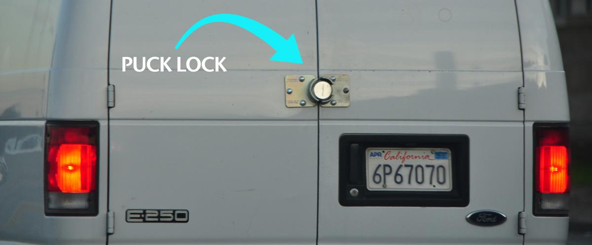 hockey puck lock on a van