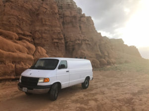 staying at goblin valley state park with a camper van